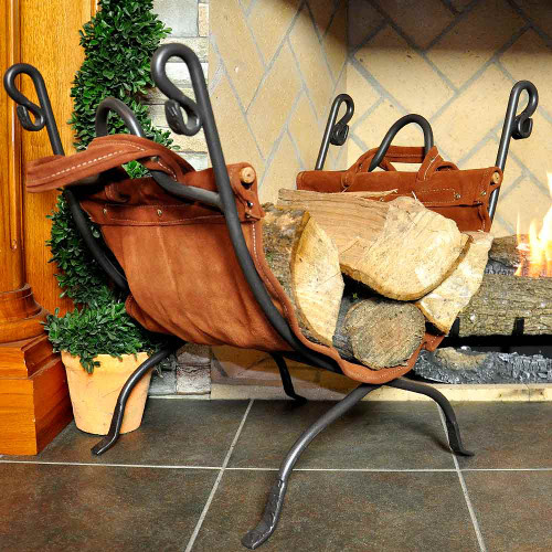 Olde World Iron Log Rack with Leather Firewood Carrier