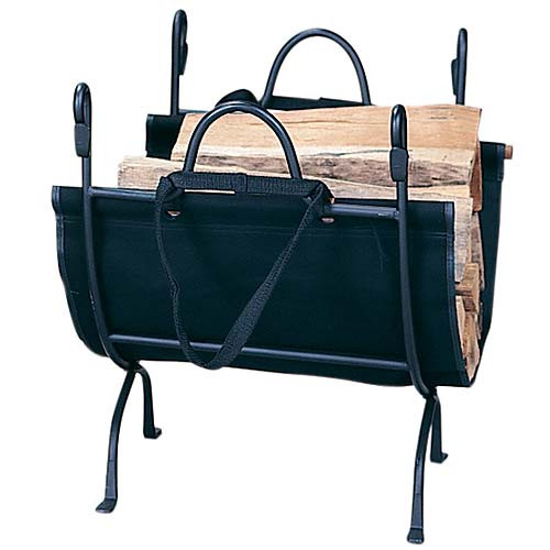 Deluxe Wrought Iron Log Holder with Carrier - Black