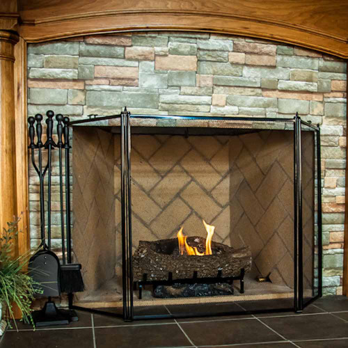 3 Fold Fireplace Screen - Black