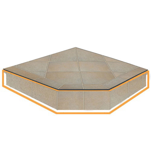 WoodEze Sepia Seashell Single Cut 40'' x 40'' Hearth Pad Riser