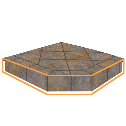 WoodEze Tuscany Single Cut 40'' x 40'' Hearth Pad Riser