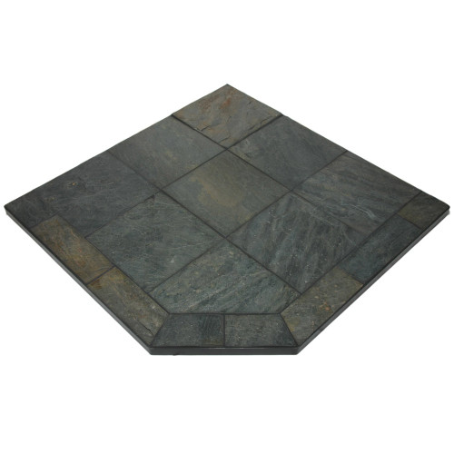 Natural Smokey Slate 40'' x 40'' Single Cut Corner Hearth Pad