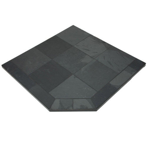 Stone Grey Slate 48'' x 48'' Single Cut Corner Hearth Pad