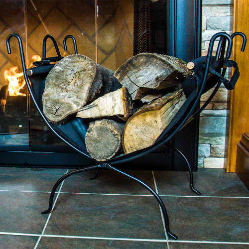 Wrought Iron Log Rack with Canvas Log Carrier - Black