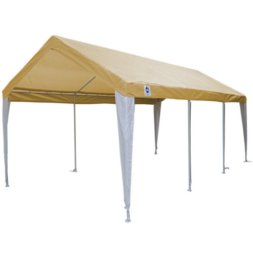 King Canopy 10' x 20' Tan and White 8 Leg Canopy