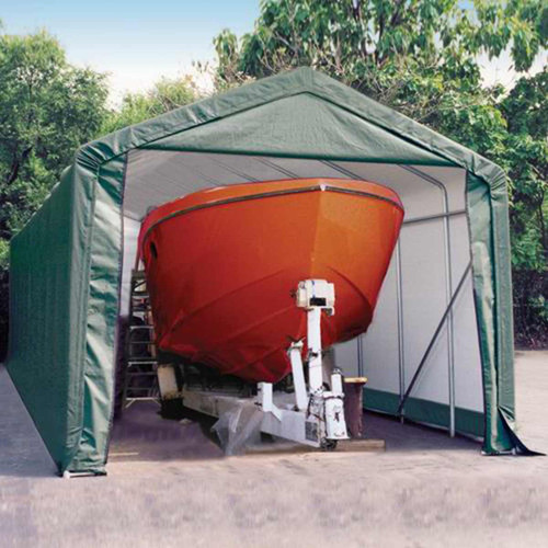 ShelterLogic 14' x 28' x 12' Peak Style Hunter Green Storage Shelter