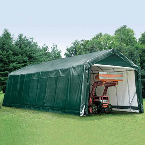 ShelterLogic 14' x 36' x 16' Peak Style Hunter Green Storage Shelter