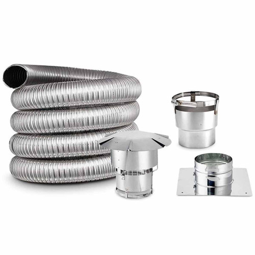 7'' x 40' Lifetime Chimney Smooth-Wall Liner Kit with Stove Adapter