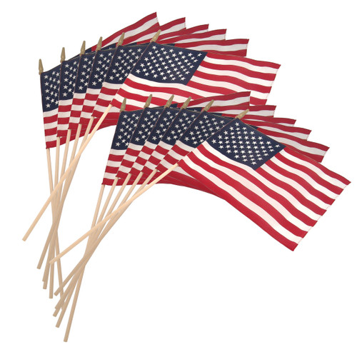 Super Tough US Stick Flag 12in x 18in Standard Wood Stick with Spear Tip - 12PK