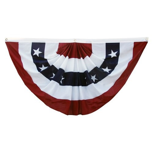US Stars and Stripes 3ft x 6ft Printed Pleated Fan - US Made