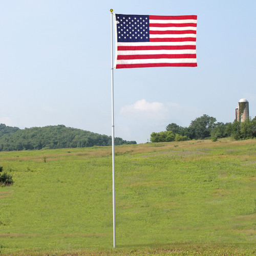 Super Tough 18ft Telescoping Flagpole with sewn nylon US made flag Bundle