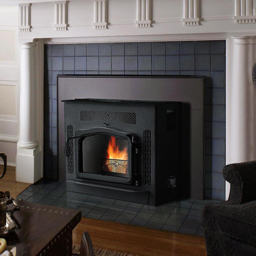 Country Flame Crossfire Flex-Fuel Fireplace Pellet Insert with Black Door