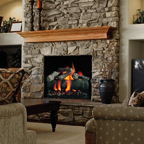 The Premium Fire Oak Set has 7 logs and carries a lifetime warranty against breakage
