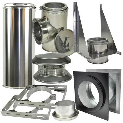 Thru the wall kit includes 2 adjustable wall brackets, deluxe chimney cap, wall thimble, tee with cap, tee support and adjustable chimney pipe 6 Inch x 11 - 20 Inches