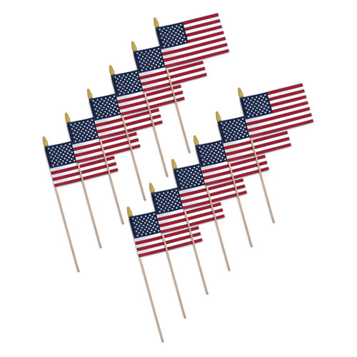 "Super Tough US Stick Flag 8"" x 12""- Wood Stick with Spear Tip - 12 pack"