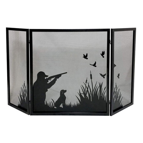 3 Fold Black Fireplace Screen - Duck Hunting Design