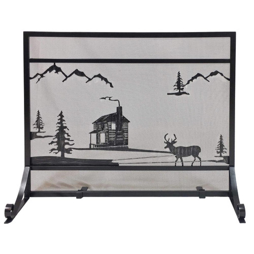 Black Panel Fireplace Screen - Wrought Iron Cabin Design