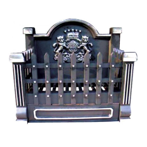 Black and Pewter Cast Iron Basket Grate with Fireback