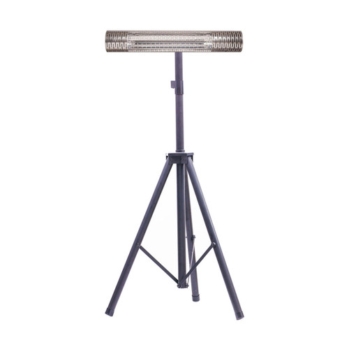 30.7-In. Wide Electric Carbon Infrared Heat Lamp with Remote Control and Tripod Stand- Silver/Black