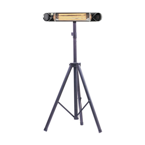 35.4-In. Wide Electric Carbon Infrared Heat Lamp with Remote Control and Tripod Stand- Black