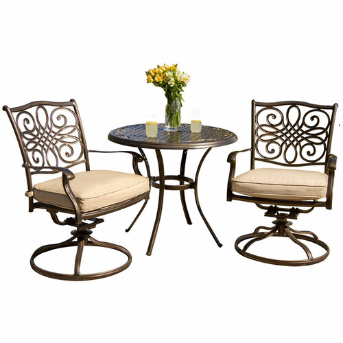Traditions 3-Piece Bistro Dining Set with Two Alumicast Swivel Rockers and a 32 in. Round Table