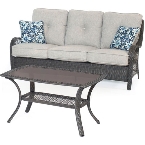 Orleans 2-Piece Patio Set in Heather Gray with Gray Weave
