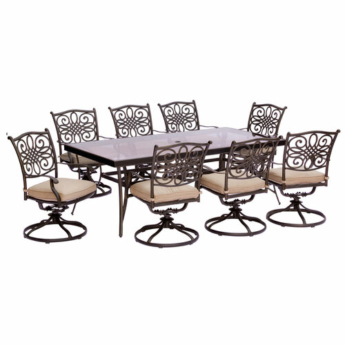 Traditions 9-Piece Dining Set in Tan with Extra Large Glass-Top Dining Table