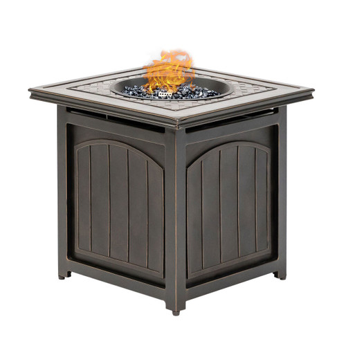 Traditions 26-In. Square LP Gas Fire Pit Side Table with Aluminum Cast-Top and Burner Lid