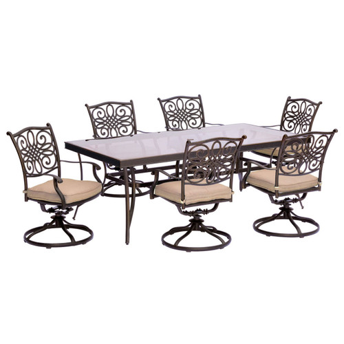Traditions 7-Piece Dining Set in Tan with Extra Large Glass-Top Dining Table