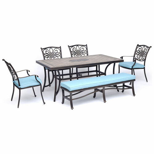 Monaco 6-Piece Dining Set in Blue