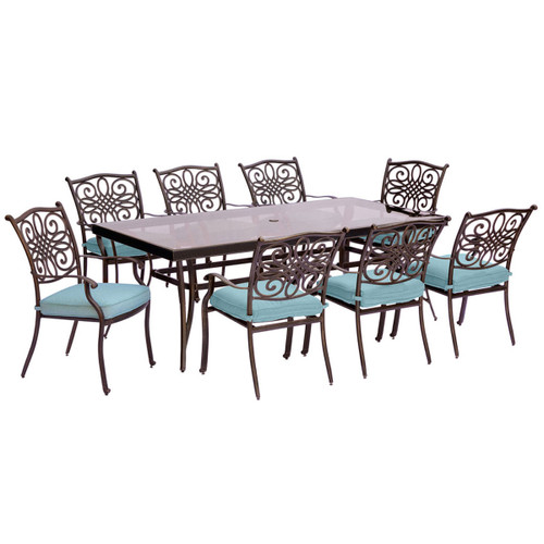 Traditions 9-Piece Dining Set in Blue with Extra-Long Glass-Top Dining Table