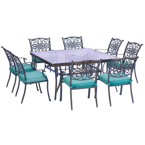Traditions 9-Piece Dining Set in Blue with 60 In. Square Glass-Top Dining Table