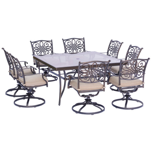 Traditions 9-Piece Dining Set in Tan with a 60 In. Square Glass-Top Dining Table