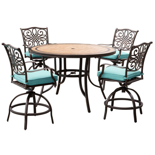 Monaco 5-Piece High-Dining Set in Blue