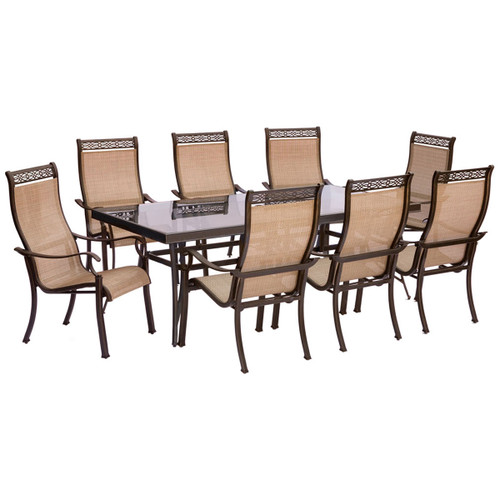 Monaco 9-Piece Dining Set with Eight Stationary Dining Chairs and an Extra Long Glass-top Dining Table