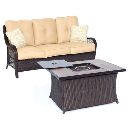 Orleans 2-Piece Woven Fire Pit Set in  Sand