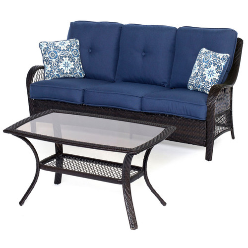 Orleans 2-Piece Patio Set in Navy Blue