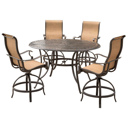 Manor 5-Piece High-Dining Set with a 56 In. Cast-top Table and 4 Counter-Height Swivel Chairs