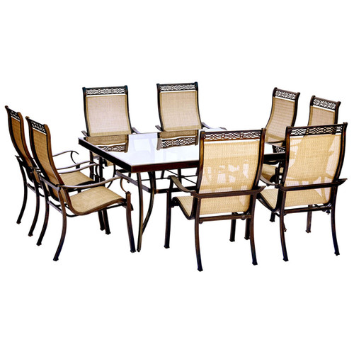 Monaco 9-Piece Dining Set with 60 In. Square Glass-top Table and Eight Stationary Dining Chairs