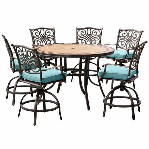 Monaco 7-Piece High-Dining Set in Blue with a 56 In. Tile-top Table and 6 Swivel Chairs