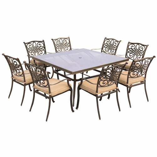 Traditions 9-Piece Dining Set in Tan with 60 In. Square Glass-Top Dining Table