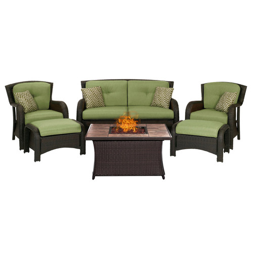 Strathmere 6-Piece Lounge Set In Cilantro Green with Fire Pit Table