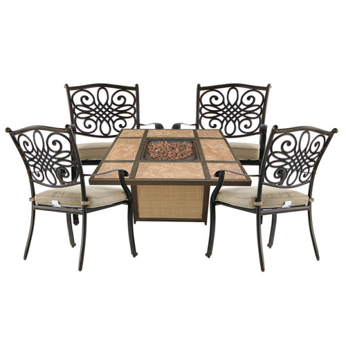 Traditions 5-Piece Patio Fire Pit Chat Set with 4 Cushioned Chairs and a 40,000 BTU Tile-Top Propane Fire Pit Table