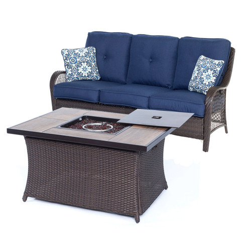 Orleans 2-Piece Woven Fire Pit Set in Navy Blue