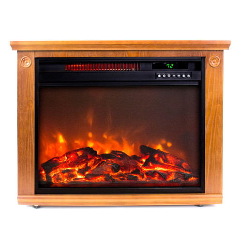LifeSmart Square Fireplace Heater in Medium Oak
