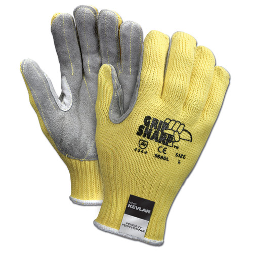 Memphis Grip Sharp Leather Palm Gloves - Kevlar Shell - 9686