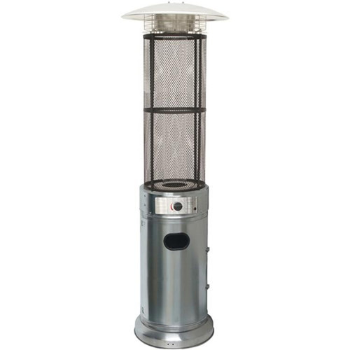 Cylinder Flame Glass Patio Heater, 6' tall, Propane, 34,000 BTU - Stainless