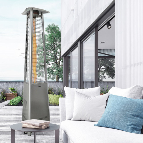 Triangle Patio Heater, 7.5' Tall, Propane Flame Glass, 42,000 BTU - Stainless