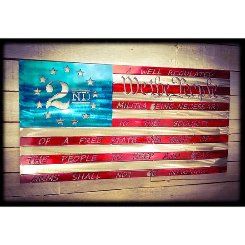 "30"" Decorative Metal Art - 2nd Amendment Flag"