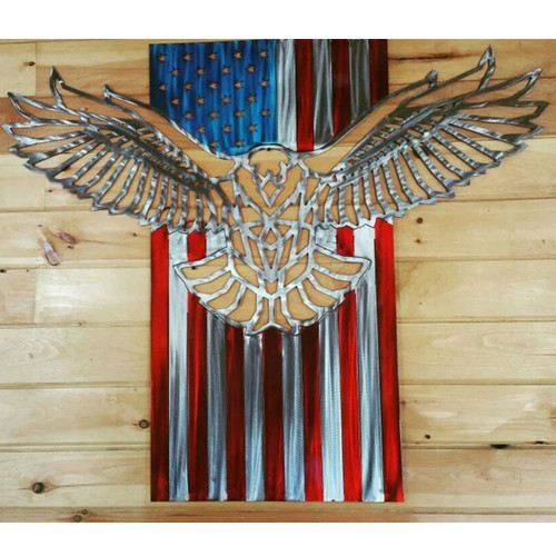 "24"" Decorative Metal Art - Freedom Flag"